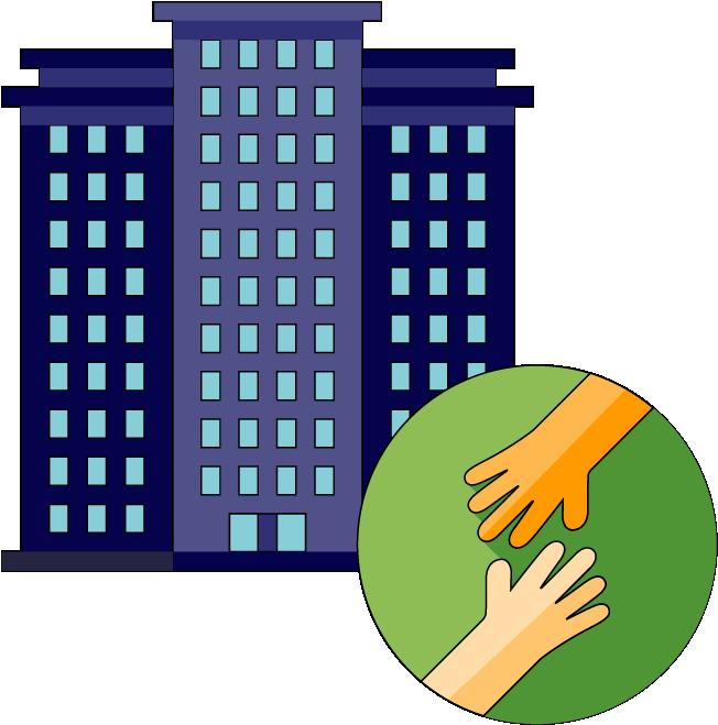 Un edificio de oficinas y dos manos de diferentes personas que se juntan.