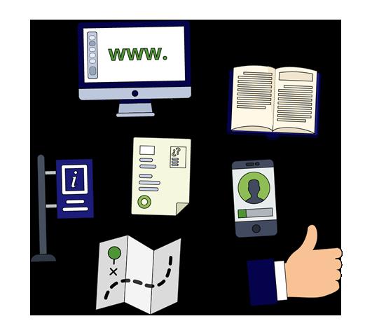 Un ordernador, un libro, un documento firmado, una señal en la calle, un mapa, un documento sellado, un teléfono móvil y una mano con el pulgar hacia arriba.
